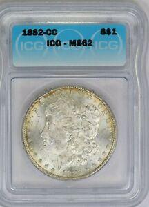 1882-CC ICG Silver Morgan Dollar Mint State MS62 Carson City Coin