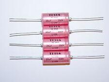 2 x NOS Tesla TE992 20uF 350V Axial Electrolytic Caps Capacitors Tube Valve Amp