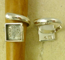 Solid Sterling Silver Adjustable Ring Finding 10mm Square Cabochon Bezel Setting