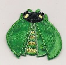 Green Ladybug Shape Insect Loose Wings Black Head Embroidery Applique Patch