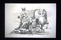 Incisione d'allegoria e satira Ferdinando II di Borbone,Napoli Don Pirlone 1851