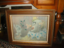 Vintage Clown Painting On Board By Sam Coty-Framed-Large-Clown Smelling Flower