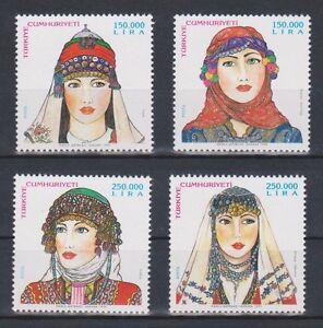 TURKEY 1999, TURKISH WOMEN TRADITIONAL HEAD COVERS 3, MNH