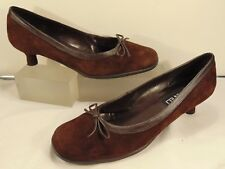 VAN ELI (WORN TWICE) SOFT BROWN SUEDE LEATHER LOW HEEL PUMP 8 1/2 M  $195.00!!