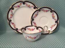 Antique John Aynsley China Art Nouveau Doris shape cup, saucer & side plate trio