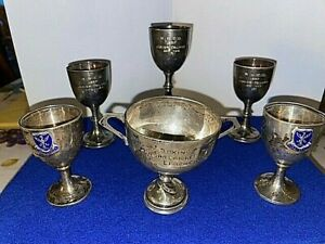 6 x SilverHallmarked and Silver plate Sports Winners Trophy Cups Boxing Cricket