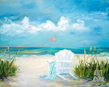Beach Scene II Art Poster Print by Julie DeRice, 20x16