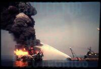 VINTAGE 35mm Kodak Slide Chevron Oil Well Fire Gulf of Mexico 1971 2-36-1393