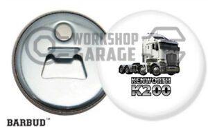 KENWORTH K200 TRUCK - WHITE / LOGO - Magnetic Bottle Opener - BARBUD