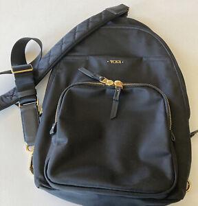 "TUMI New No Tags CROSSBODY BAG BLACK Goldtone Zippers Hardware 15"" L x 10"" W"