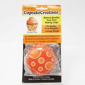 Cupcake Creations Baking Cups Orange Dots Halloween Thanksgiving 32 Per Pack NEW