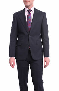 Mens 42L Napoli Slim Fit Solid Navy Blue Two Button Half Canvassed Wool Suit