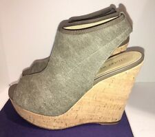 NIB Stuart Weitzman GLOVER Wedge Sandals Chino Jeans Stretch Sz 9 M $398