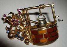 Vintage 18ct 18k Gold Enamel Sapphire Ruby Wishing Well Flowers Brooch Pin