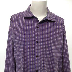 ROBERT GRAHAM Men's Purple w Yellow Orange Embroidered Stitch Size 3XL Button Up