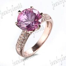 Exquisite 10K Rose Gold Genuine Round Pink Topaz Diamond Jewelry Wedding Ring