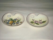 PAIR CERAMIC ARTISTS PALLETS W HAND PAINTED FLORAL HYDRANGEA SIGNED N M IN BOXES