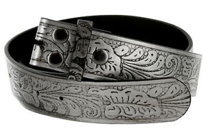 """Western Floral Embossed Replacement Belt Strap w/Snaps 1-1/2"""" wide"""