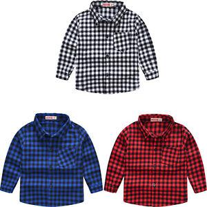 Kids Boys Plaid Print T-shirt Cotton Lapel Collar Long Sleeves Shirt Casual Tops