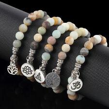 3D OM Lotus Matte Amazonite Stone Strand Bracelets Chakra Mala Women Bracelets
