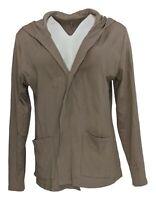 Isaac Mizrahi Live! Women's Sweater Sz L Pima Open Swing Hoodie Brown A381603
