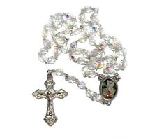 Italian Guardian Angel Silver Rosary First Communion Baptism Christening Gift