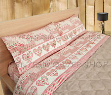 COMPLETO LENZUOLA SINGOLO MADE ITALY COTONE PATCHWORK TIROLESE ROSSO PANNA PCTE1