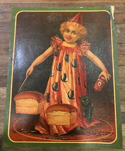 Vintage Magic Yeast Standard Advertising Girl Halloween Costume & Black Cat