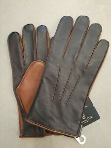 Massimo Dutti Leather Gloves With Cashmere Size Medium