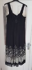 Jacque Vert evening maxi dress in black with beads size 20 RRP