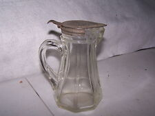 "EARLY GLASS PITCHER WITH METAL LID 6"" X 4 1/2"" X 3 1/2"" TWO SMALL FLEA BITES#384"