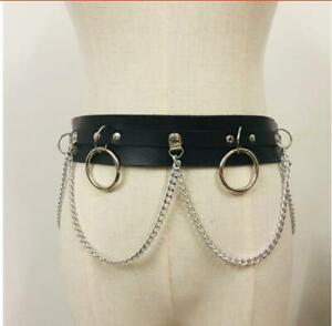 Mens Womens Punk Belt Buckle Chain Faux Leather Steam Hoops Studded Waist Strap