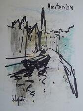 Georges LAPORTE (1926-2000) Technique mixte/papier Amsterdam P1794