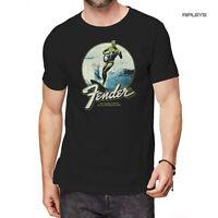 Official Metal Rock T Shirt Black FENDER Guitar Logo 'Surfer' All Sizes