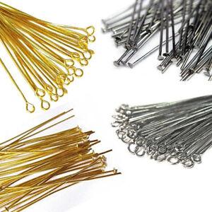 Kettelstifte Nadel Versilbert Kopfstifte mit öse Nietstift / 100stk Gold Silber