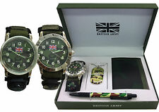 British Army Gift Set with Wallet, Dog Name Tag, Pencil Men's Boy's Wrist Watch