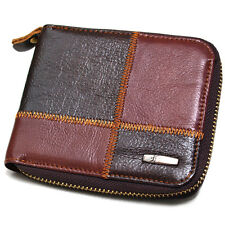 Zip-Around Leather Wallets For Mens Coin Pocket Credit Card Purse For Womens