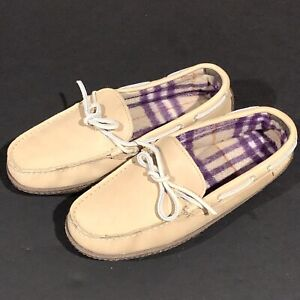 LL BEAN Womens Natural Leather Hand Sewn Leather Flannel Lined Slippers Size 7M