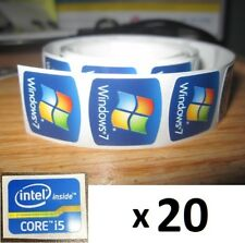 20 libera computer Windows 7 Adesivo + i5 i3 i7 PC Core Intel Inside 10 ORIGINALE 8