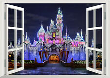 Disney Land Princess Castle Night 3D Window Wall Decal Kids Sticker Home Decor