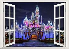 Disney Land Princess Castle Night 3D Window Wall Decal Kids Sticker Home Decor