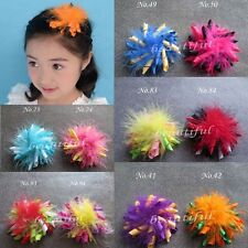 "30 Good Girl 3.5"" Feather Corker Hair bow 130 style Pin Clip Barrette Hairbow"