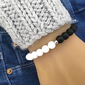Yin Yang Balance Beaded Bracelet   8mm   Matte Black Onyx and Matte White Jade