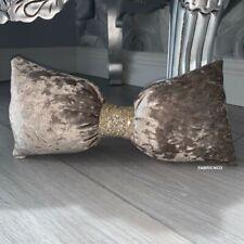 Small crushed velvet bow cushion - Mink Brown & Gold glitter