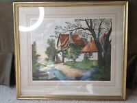 "Rene Barnaix ""La Fin Du Hameau "" Signed Aquatint Etching On Paper."