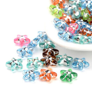 100pcs Unique Metal Enlaced Acrylic Star Beads Loose Beads Beading Craft 10x4mm
