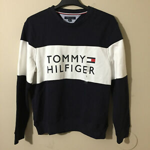 Tommy Hilfiger Mens Colorblock Sweater Big Logo Pullover Navy/White/Red Sz L NWT