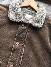 Ben Sherman Homme L 42 Marron Cordon Shearling SHERPA TRUCKER JACKET Fourrure Motard Manteau