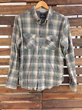 Roark Revival Flannel Plaid Shirt Button Down Gray Tones Large Men's EUC
