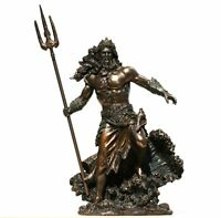 Poseidon Greek God of Sea Neptune Figurine Statue Sculpture Bronze Finish 8.1in